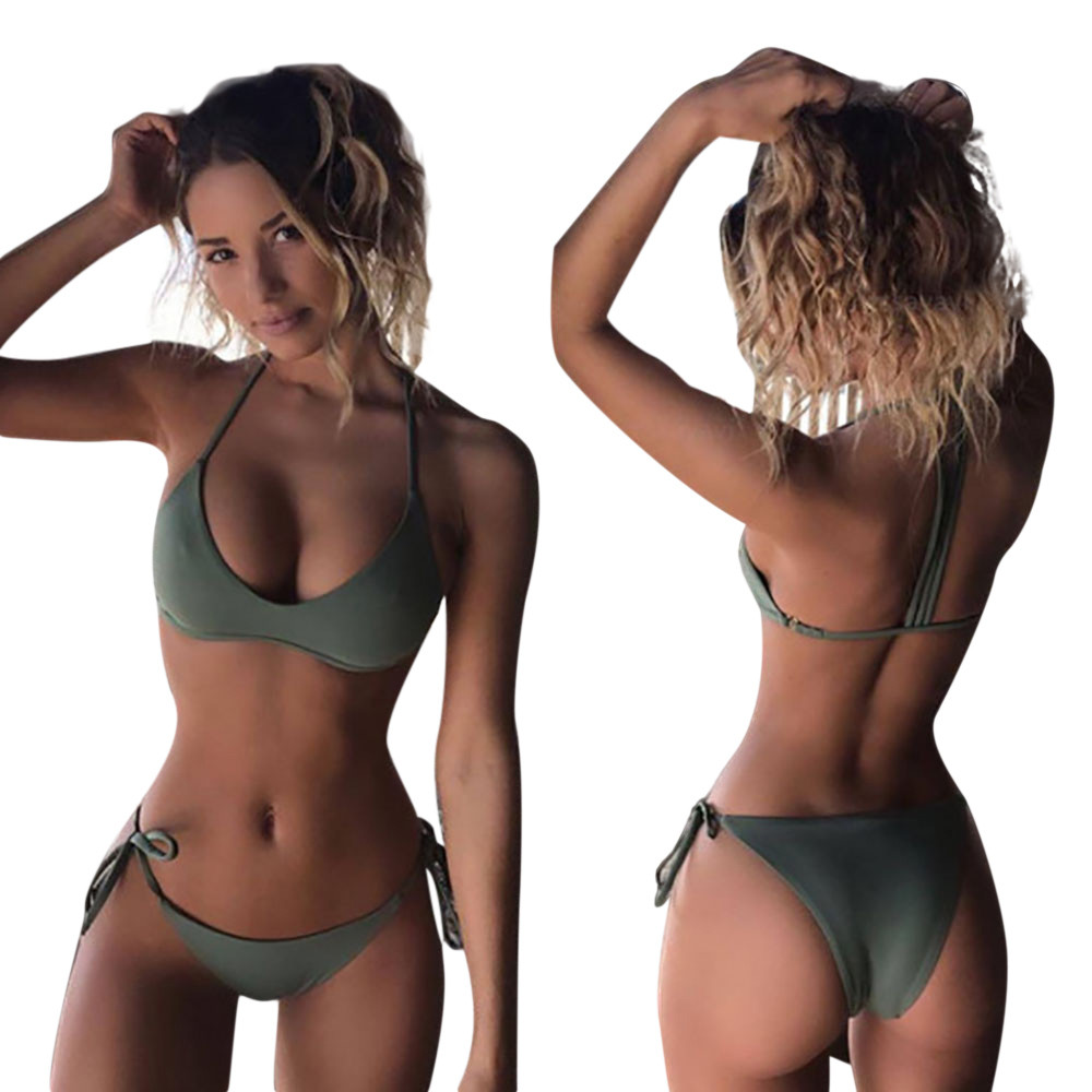 Swimwear Bikini-Set Bathing-Suit Bandeau Female Women Sexy Summer Solid for Biquini -J8 title=