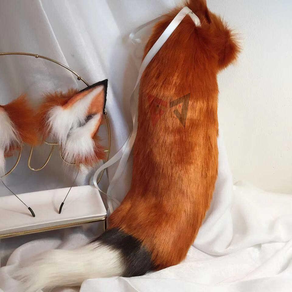 MMGG ใหม่ Golden Red Fox หูหมาป่าและแมวฟ็อกซ์หูผม Hoop Headwear หางสำหรับสาวผู้หญิงคุณภาพสูง