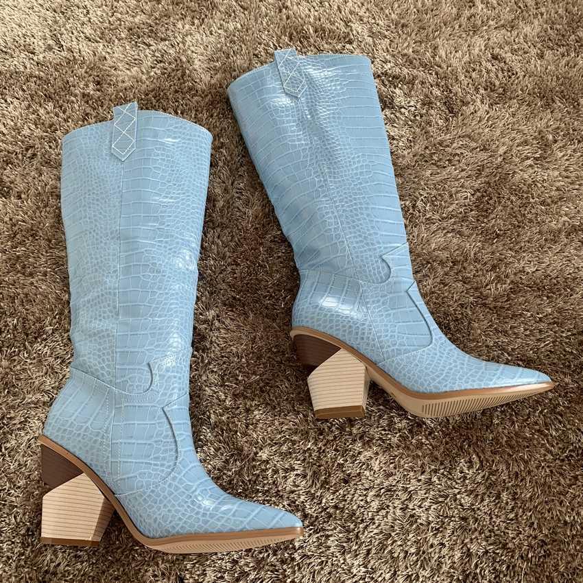 2019 Nieuwe Vrouwen Dij Hoge Laarzen Dame Platform Boot Vrouw Over De Knie Laarzen Dames Hoge Hak Schoen Leer Bont sneeuw Bottine