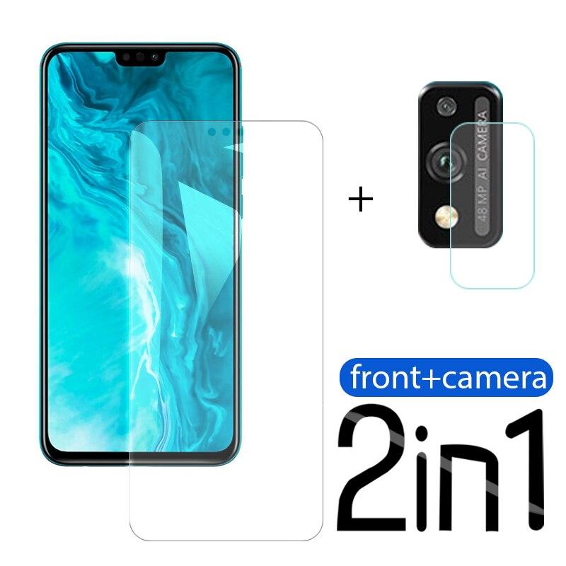 2-em-1 vidro temperado para huawei honra 9 x lite protetor de tela da câmera em honra 9 x x9 lite hono 9 x luz iluminada película protetora