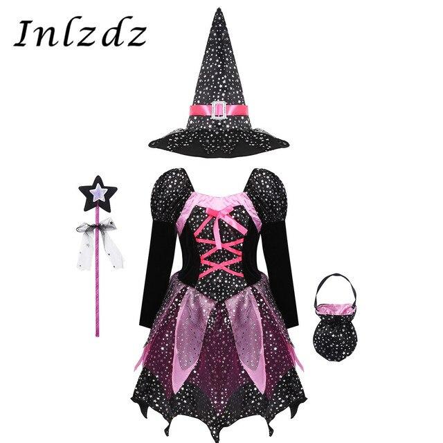 ילדים בנות המכשפה קוספליי תלבושות כסף כוכבים שמלה עם כובע מחודד שרביט סוכריות תיק סט מכשפות קרנבל ליל כל הקדושים תלבושת