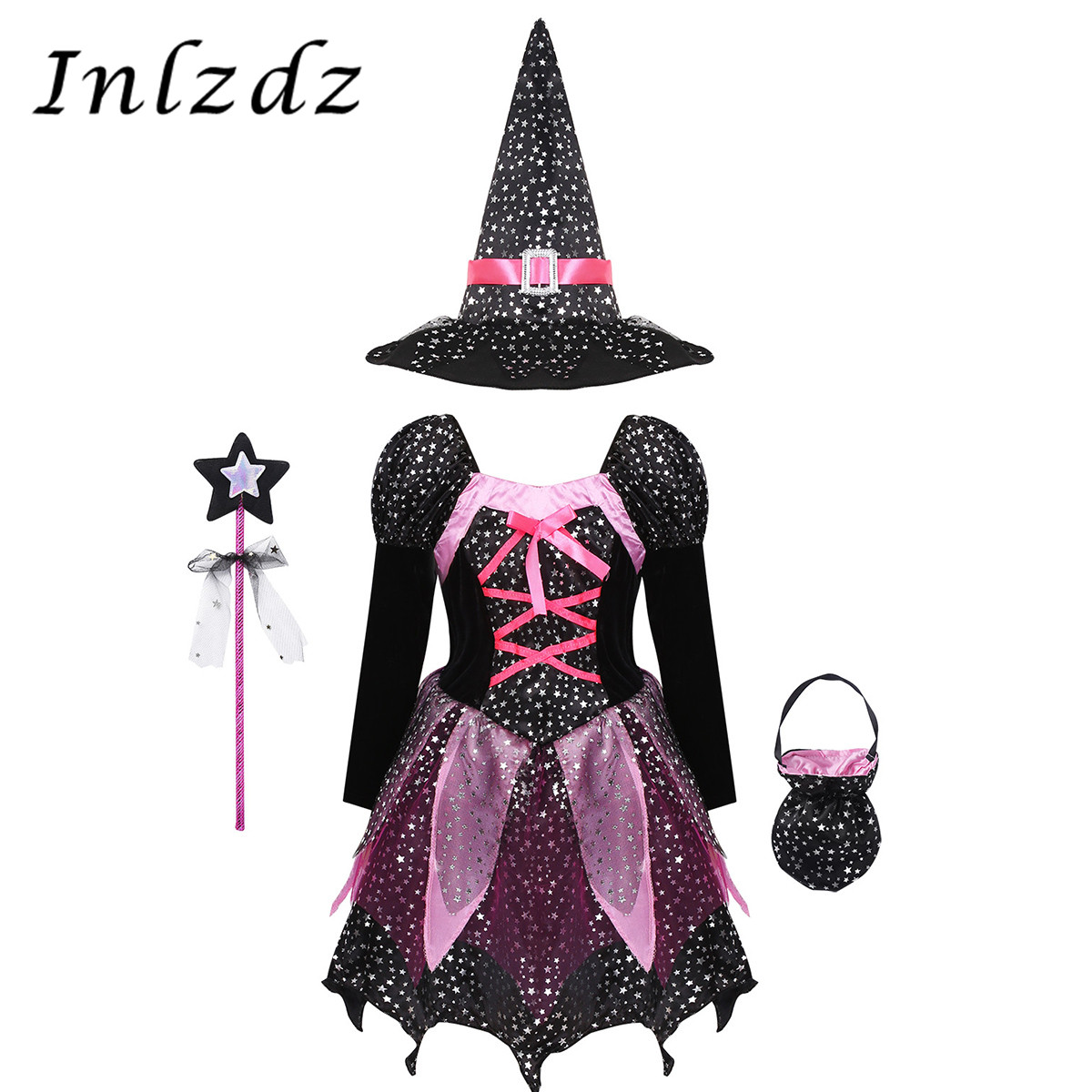 Kids Girls Witch Fancy Carnival Cosplay Costumes Silver Stars Dress with Pointed Hat Wand Candy Bag Set Witches Halloween Outfit