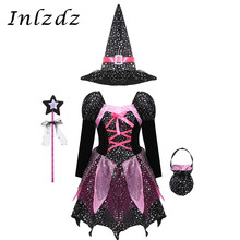 Kids Girls Witch Fancy Cosplay Costumes Silver Stars Dress with Pointed Hat Wand Candy Bag Set Witches Carnival Halloween Outfit