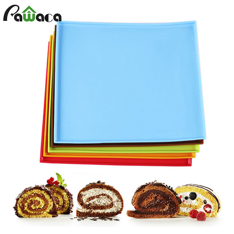Swiss Roll Cake Mat Silicone Nonstick Baking Mat Cake Pad Flexible Baking Tray Silicone Pizza Cookies Mold Baking Pastry Tools