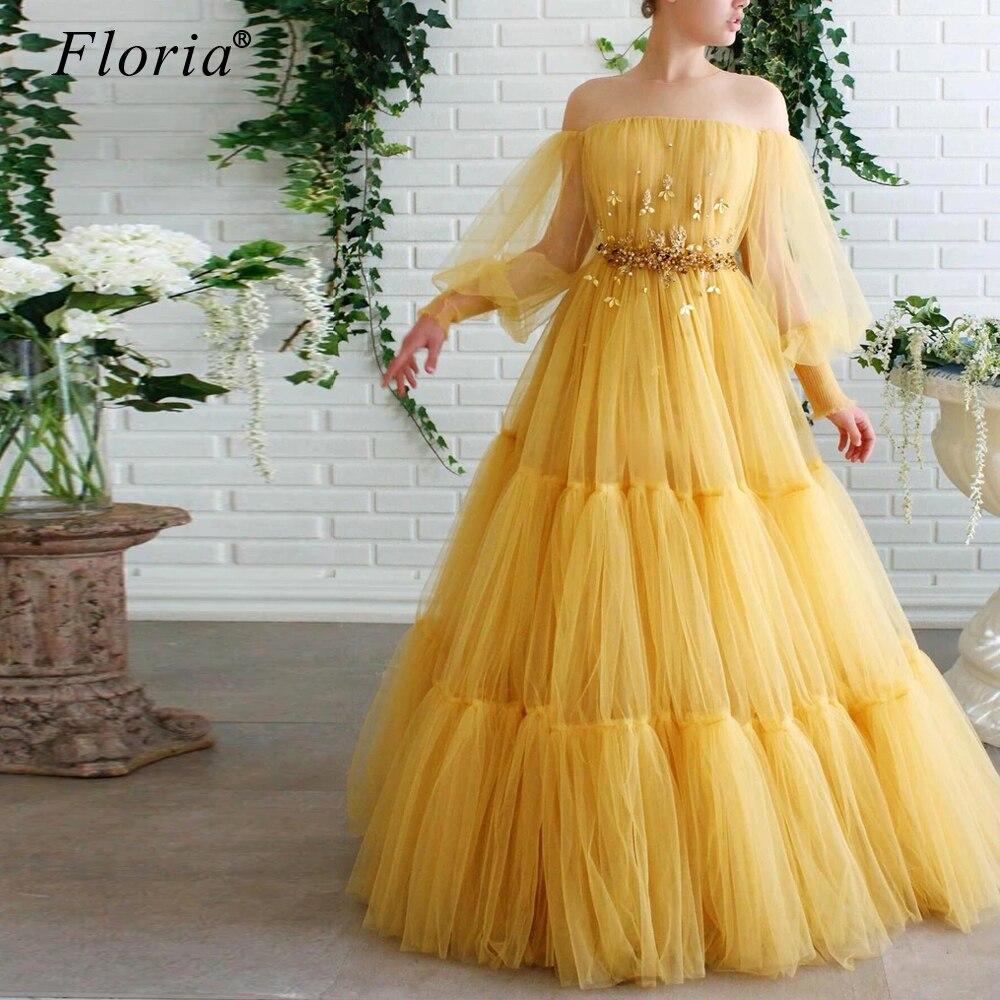 Turkish Couture Yellow Prom Dress Fairy Beading вечернее платье Kaftan Evening Gowns Long Vestidos De Fiesta De Noche Customize