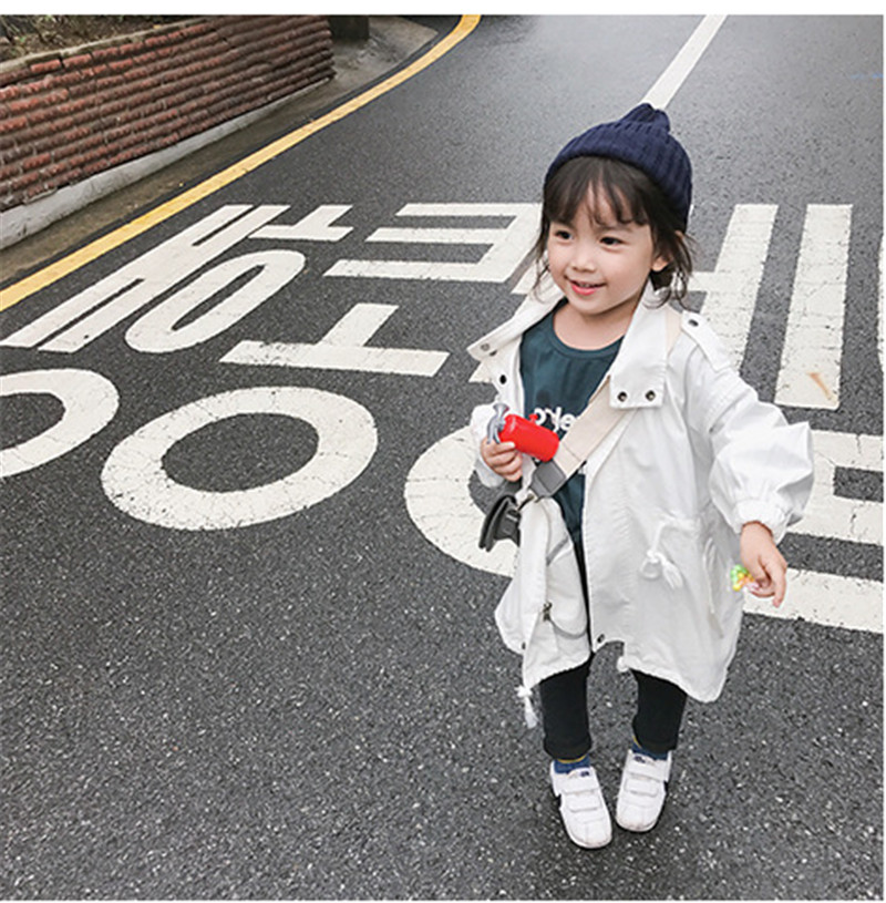 Baby Girl   trench   coats for kids Windbreaker long sleeve Double-Breasted Coats children jackets solid color loose casual clothes