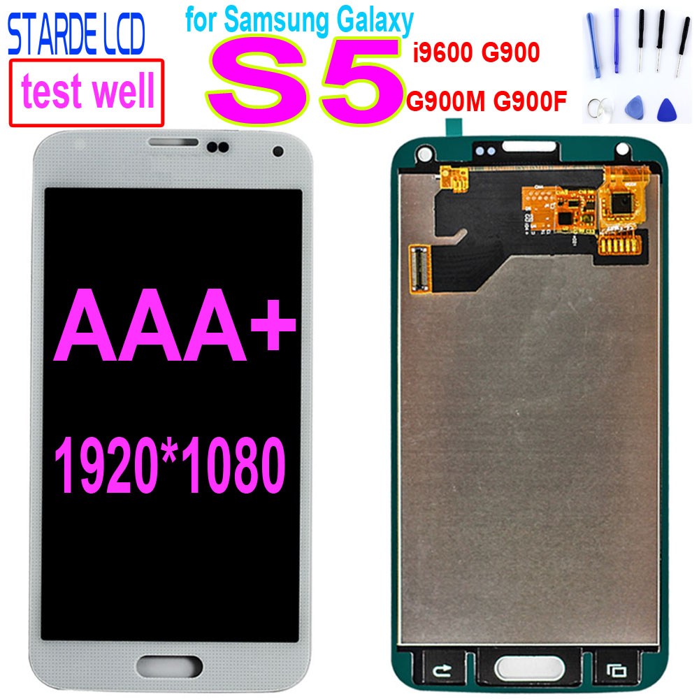 TFT LCD For <font><b>SAMSUNG</b></font> Galaxy S5 i9600 G900 <font><b>G900F</b></font> G900A LCD <font><b>Display</b></font> Digitizer Touch Screen Panel Assembly S5 LCD image