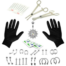 14G 16G More Combo Perforation Tool Set bi ding Earrings Belly Button Ring chun ding stainless steel earrings set  gothic детские ткацкие станки аксессуары ding ding tong diy