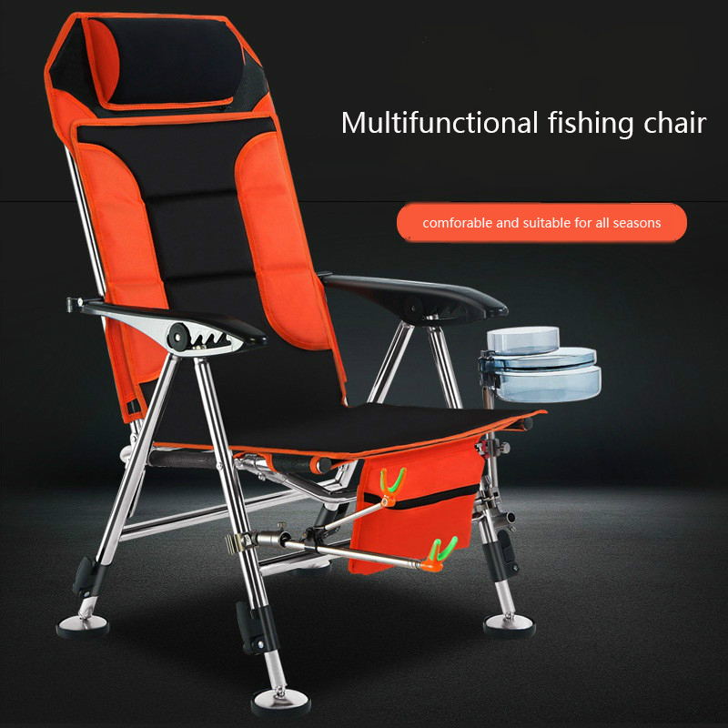 Folding Fishing Chair Multi-functional Camping Outdor Chair Ultra-light Portable Fishing Stool Can Lie Travel Fishing Chair