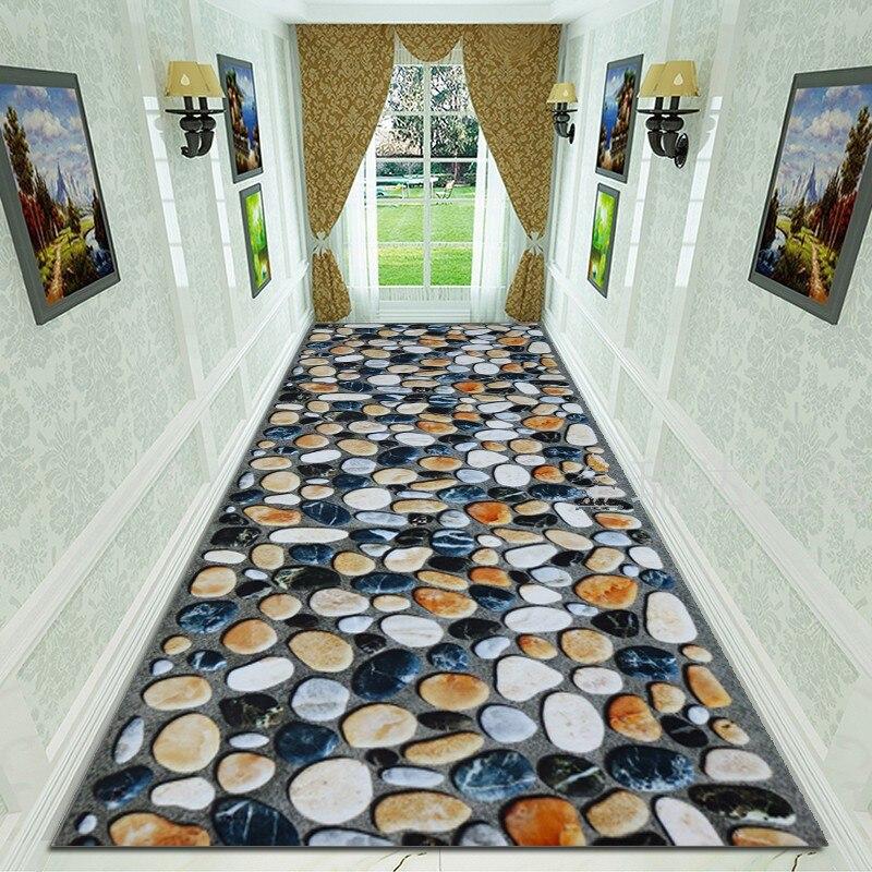 3D Cobblestone Corridor Carpet Soft Flannel Bedroom Rugs Entrance Doormat Modern Flowers Area Rug Carpets For Living Room 80*200
