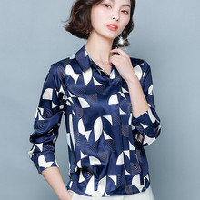 Korean Fashion Women Silk Shirts Woman Satin Blouses Print Shirt Plus Size Blusas Mujer De Moda 2020 Blusas Femininas Elegante