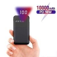 10000 mah banco de potência para iphone samsung xiaomi tipo c pd carregamento rápido + carga rápida 3.0 usb powerbank bateria externa