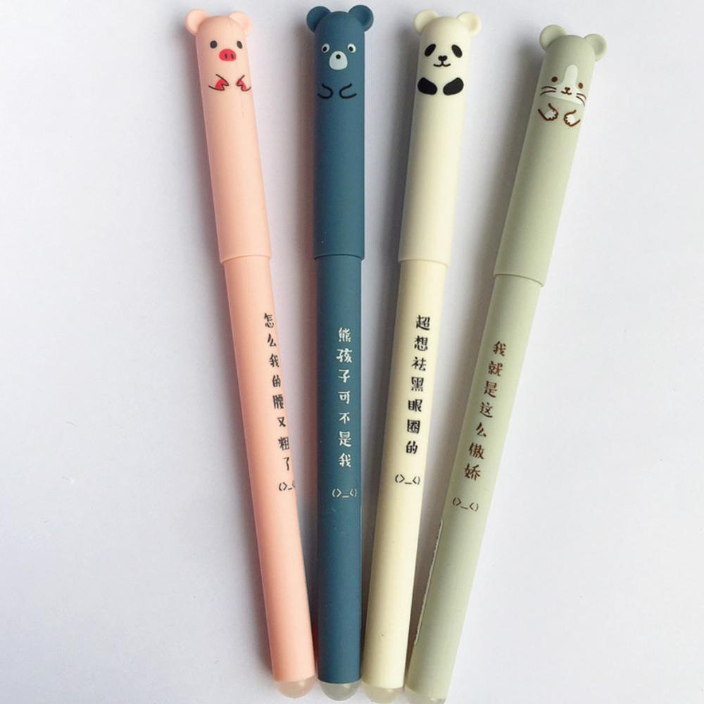 4 Random Colors Cute Animal Panda Mouse Pig Erasable Gel Ink Pen 0.35mm Gel Pen School Office Supply Gift Students Stationery
