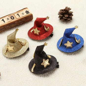 1 PC Children Witch Hat Hairclips Mini Halloween Hair Clips Hairclips Party Festival Headdress Halloween Hair Accessories new arrival hot words hairclips melanin jealous blessed pitiless hair pins great quality hair accessories wholesale