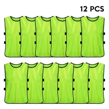 12 sztuk dziecięce piłkarskie Pinnies szybkie suszenie koszulki piłkarskie młodzieżowe sportowe Scrimmage praktyka kamizelka sportowa szkolenie zespołowe śliniaki tanie i dobre opinie Dobrze pasuje do rozmiaru wybierz swój normalny rozmiar CN (pochodzenie) Materiał funkcyjny bez rękawów 12 PCS