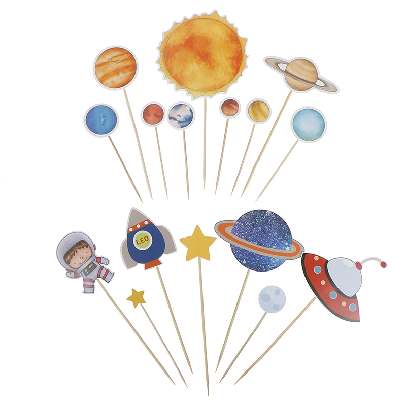 Outer Space Party Astronaut Rocket Ship Theme Foil Balloons Galaxy/Solar System Party Cake Toppers Boy Birthday Supplies-1