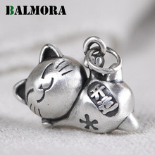BALMORA Original 990 Pure Silver Cute Cat Pendant For Women Retro Good Luck Pendant Thai Silver Charm Jewelry Gift Without Chain