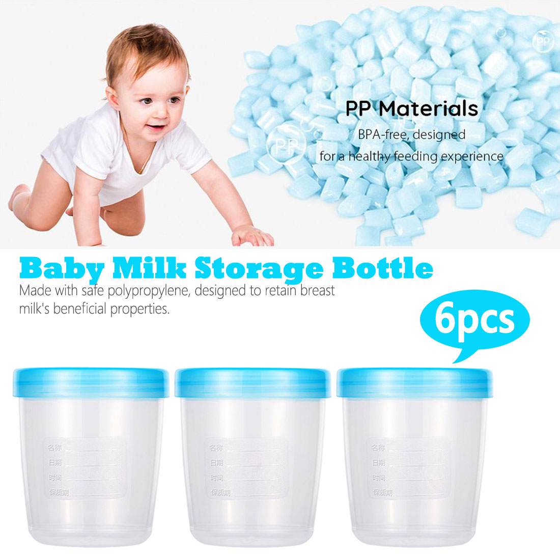 6 Pcs Baby Breast Milk Storage Bottle Collection Infant Newborn Food Freezer Container BPA Free Products Blue 180ml Capacity