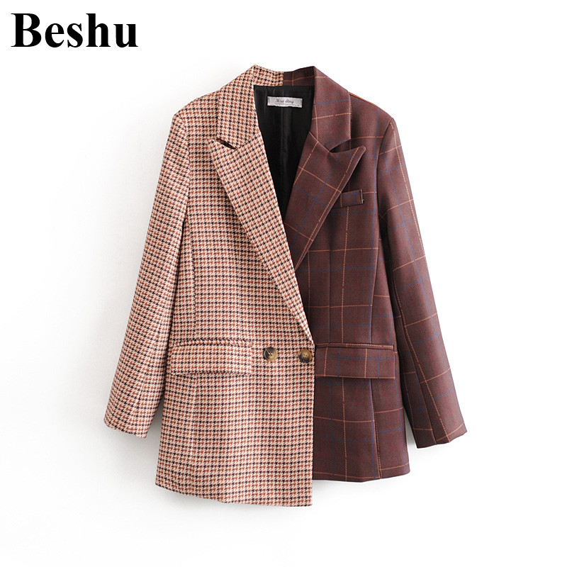 Za 2020 Fashion Blazer Women Color Matching Big Lapel Plaid Two-button Pockets Blazer Female Asymmetric Hem Traje De Negocios