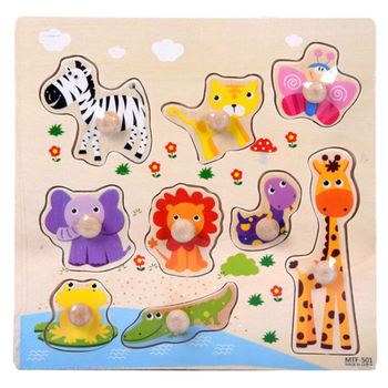 цена Kids Toys Montessori Wooden Puzzle Hand Grab Board Set Educational Wooden Toys Cartoon Vehicle Animal Puzzles Baby Children Toy онлайн в 2017 году