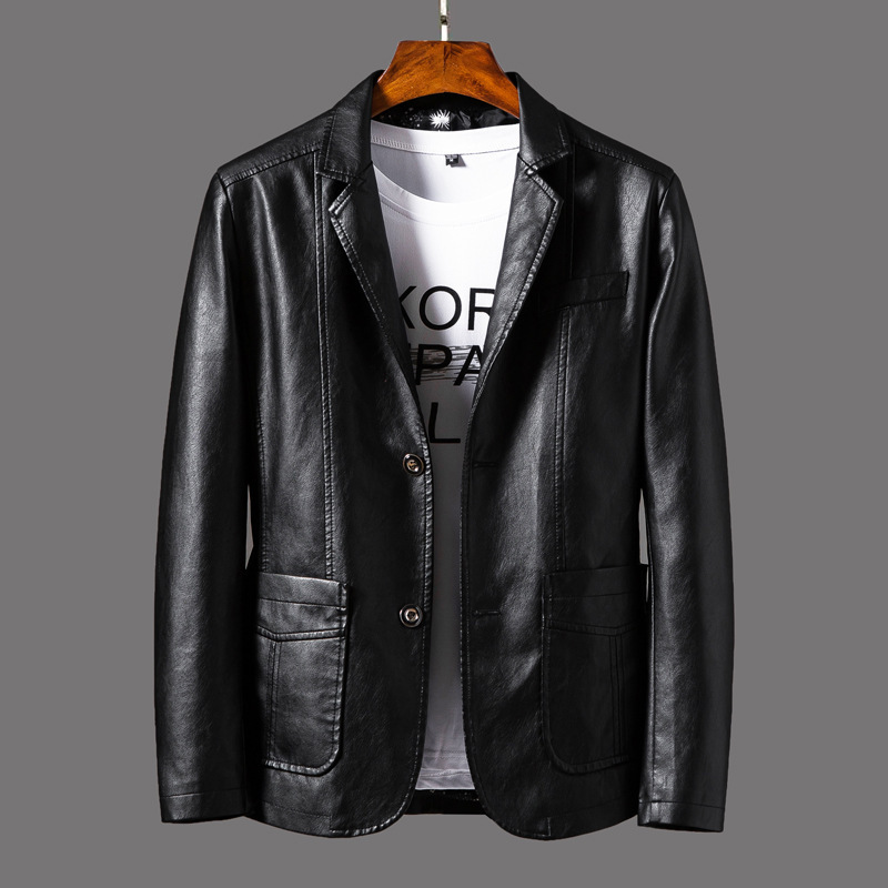 Spring And Autumn 2019 New Coat Men's Leather Casual Fashion Men's Pu Leather Jacket Suit Leather Jacket Men