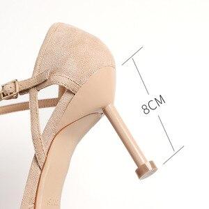 Image 5 - Женская обувь; коллекция 2020 года; обувь на тонком высоком каблуке; Офисная Женская обувь из флока с острым носком и ремешком на щиколотке; элегантные пикантные Босоножки на каблуке из двух предметов