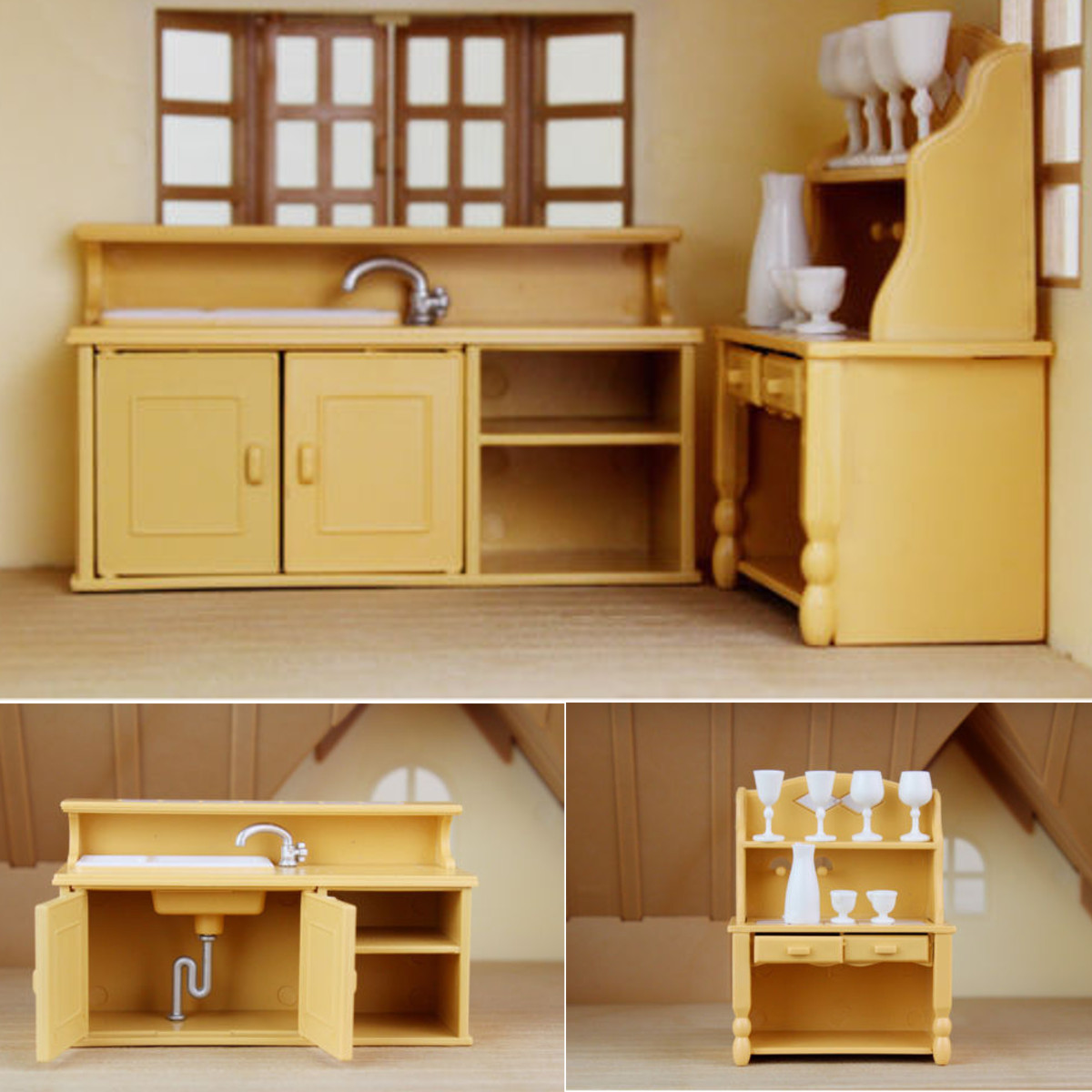 Kitchen Cabinets Miniature Doll House Safe Plastic Furniture Set Dining Room Decor Child Kids Play Toy Accessories Birthday Gift