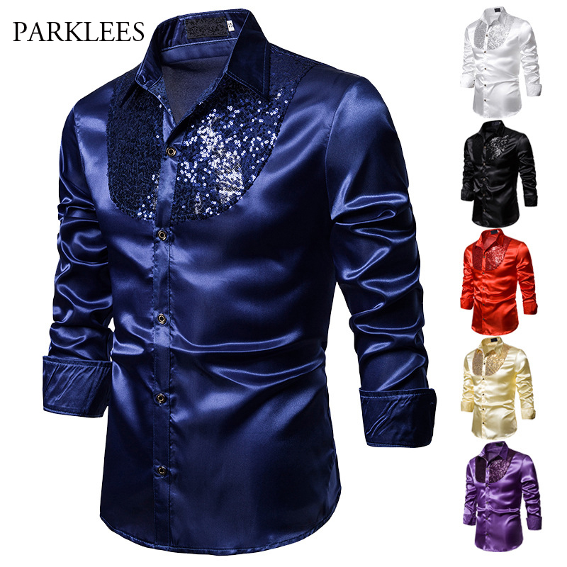 Royal Blue Shirt Men Silk Satin Smooth Shirt Luxury Sequin Tuxedo Shirt Party Stage Performance Shiny Disco Dress Shirts