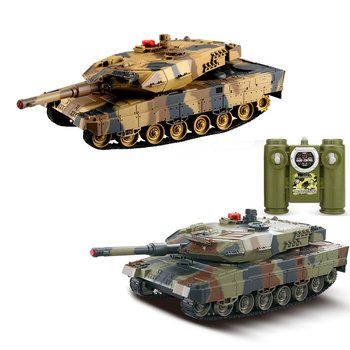 2pcs RC Battle Tank 1/24 Scale German Leopard A6 Infrared Fighting tank with Sound and Lights wireless RC Tank Toys