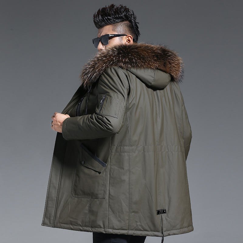 Men's Genuine Leather Jacket Winter Down Jacket Men Raccoon Fur Collar Long Coat Luxury Cow Leather Jackets K2373 MY1439