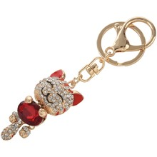 2Pcs Rhinestone Crystal Keyring Charm Pendant Purse Bag Key Ring Chain Keychain Pink Cat & Red Cat(China)
