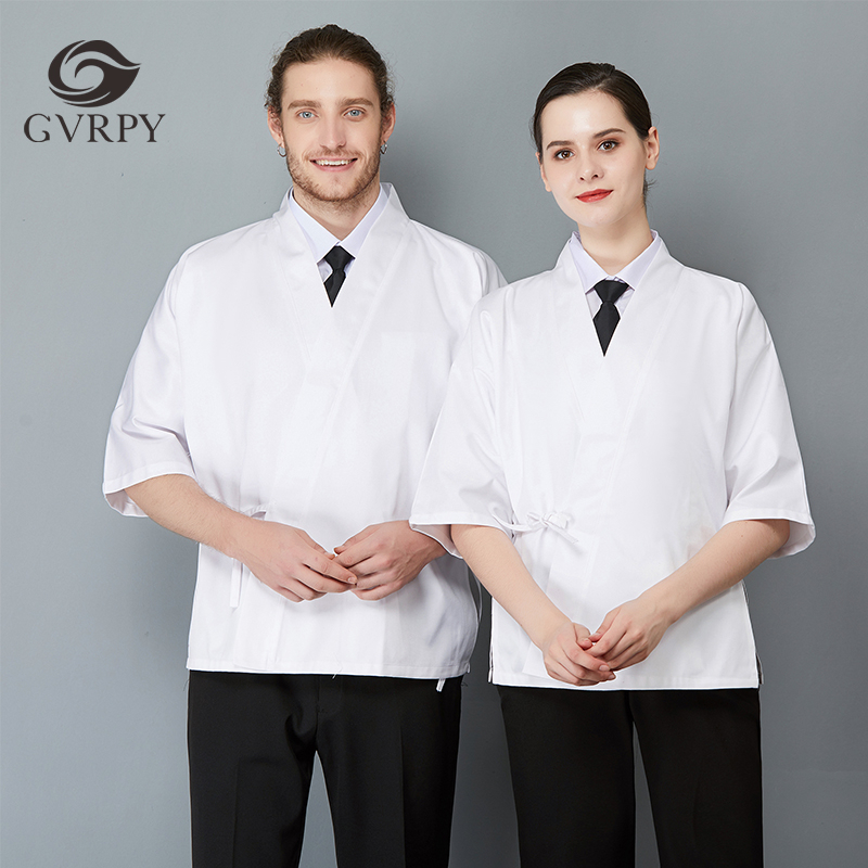 Japanese Chef Uniform Seven-quarter Sleeve Unisex Solid Color Lacing Overalls Sushi Cuisine Cafe Barber Shop Waiter Work Jacket