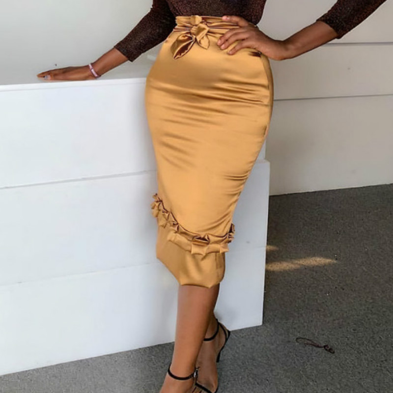 High Waist Skirts Elastic Silk Bodycon Pencil Women Office Ladies Spring Summer African Modest Elegant Retro Jupes Falads Saias