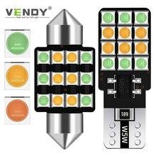 Ampoule LED pour intérieur de voiture, 1 pièce, 3 couleurs en une, lampe dôme T10 W5W Festoon 28mm 31mm 36mm 39mm 41mm C5W C10W Canbus pour voiture