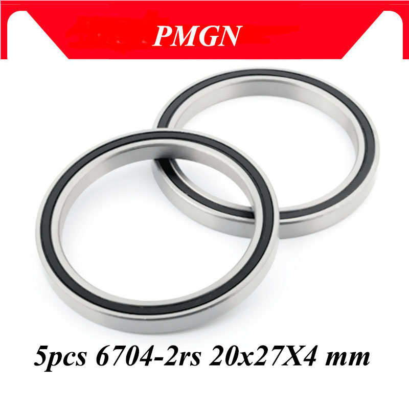 PMGN 5PCS ABEC-5 6704-2RS High quality 6704RS 6704 2RS RS 20x27X4 mm Miniature Rubber seal Deep Groo