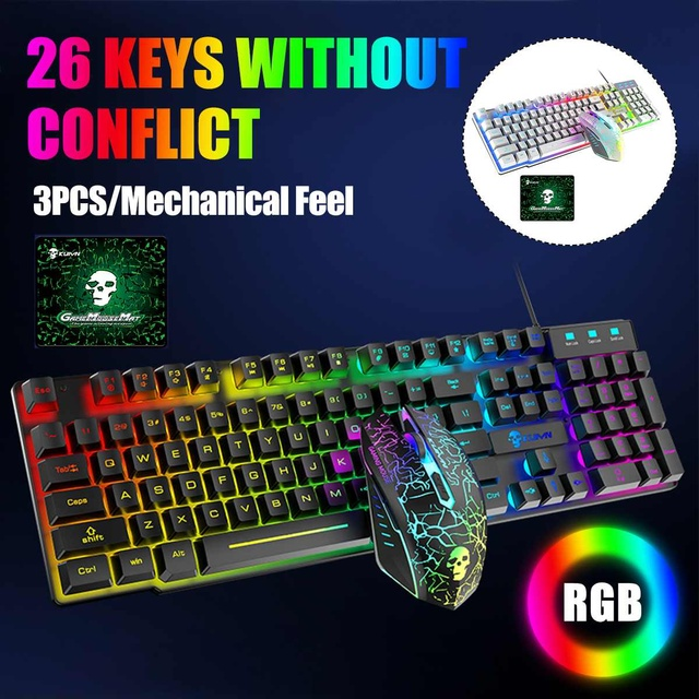 Gaming Mechanical Keyboard 26-key Conflict Free 104 Key Wired Keyboard RGB Backlit LED USB Mouse Pad Set For Gamer PC Laptop