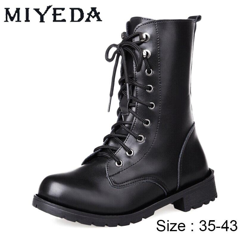 Botas de diseñador para mujer, botines de charol Rock con cordones y punta redonda, botas gruesas para motocicleta