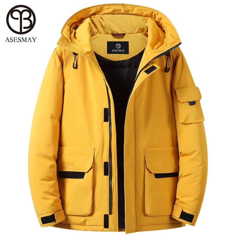 Asesmay Brand White Duck Down Jacket Men Winter Parka Hooded Thick Warm Goose Feather Wellensteyn Waterproof Reversible Coats