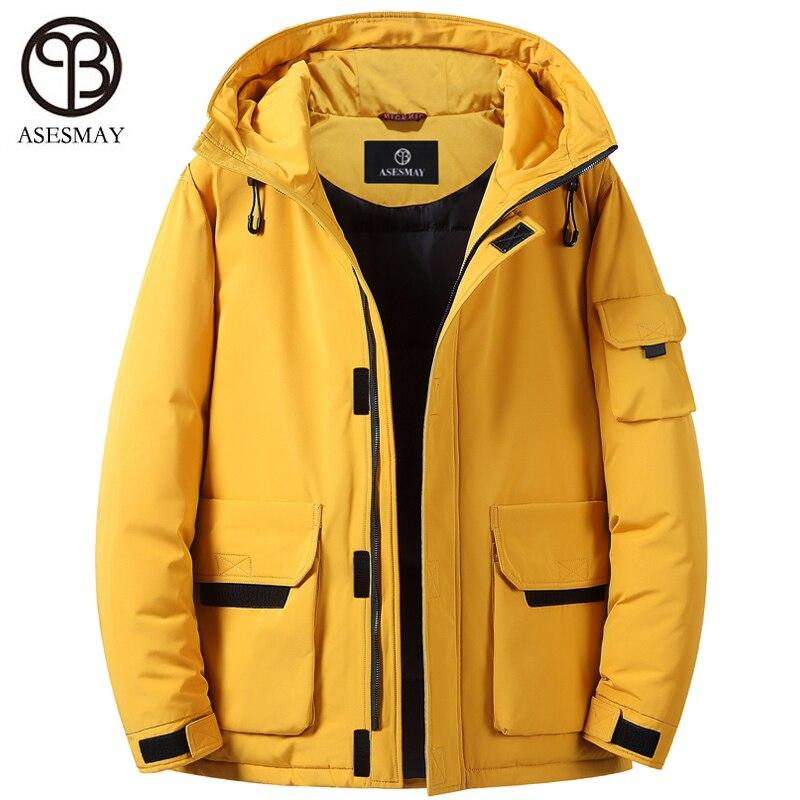 Asesmay Brand White Duck Down Jacket Men Winter Parka Hooded Thick Warm Goose Feather Wellensteyn Waterproof Reversible Coats