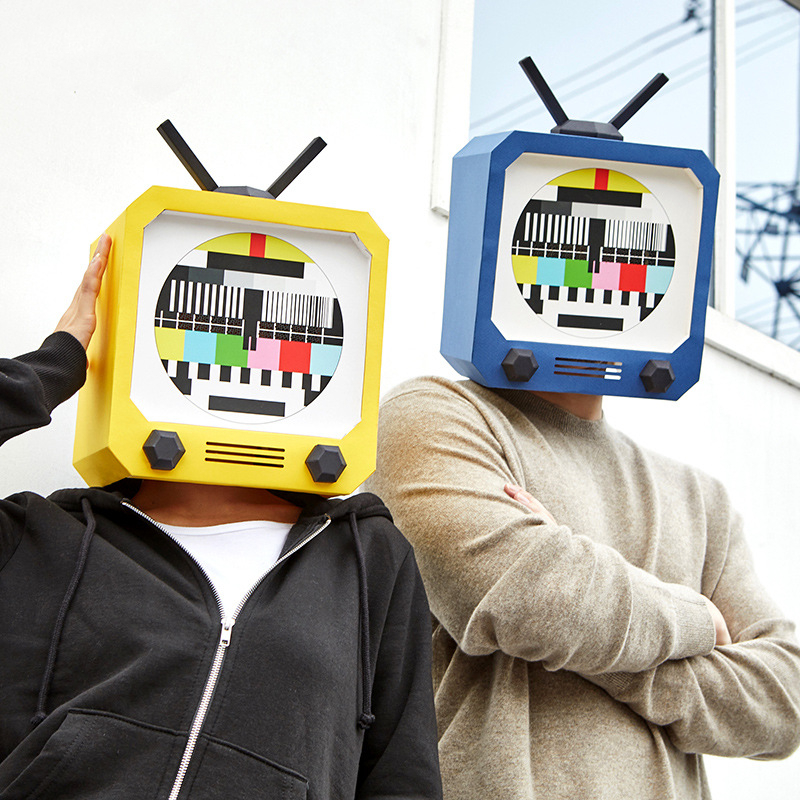 Paper DIY T.V television Model Mask material manual creative Head Mask Party Masquerade show props lovely hand made Gift image