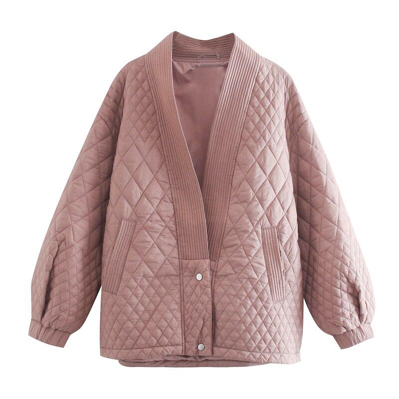 ZA 2020 новая зимняя парка Женская Толстая теплая зимняя куртка с однотонным розовым утеплителем|Парки| | АлиЭкспресс