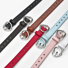 Children Faux Leather Belt Kids Cute Peach Heart Buckle Belts For Girls Solid Waistband Love Heart Eyelet Grommet Waist Belt