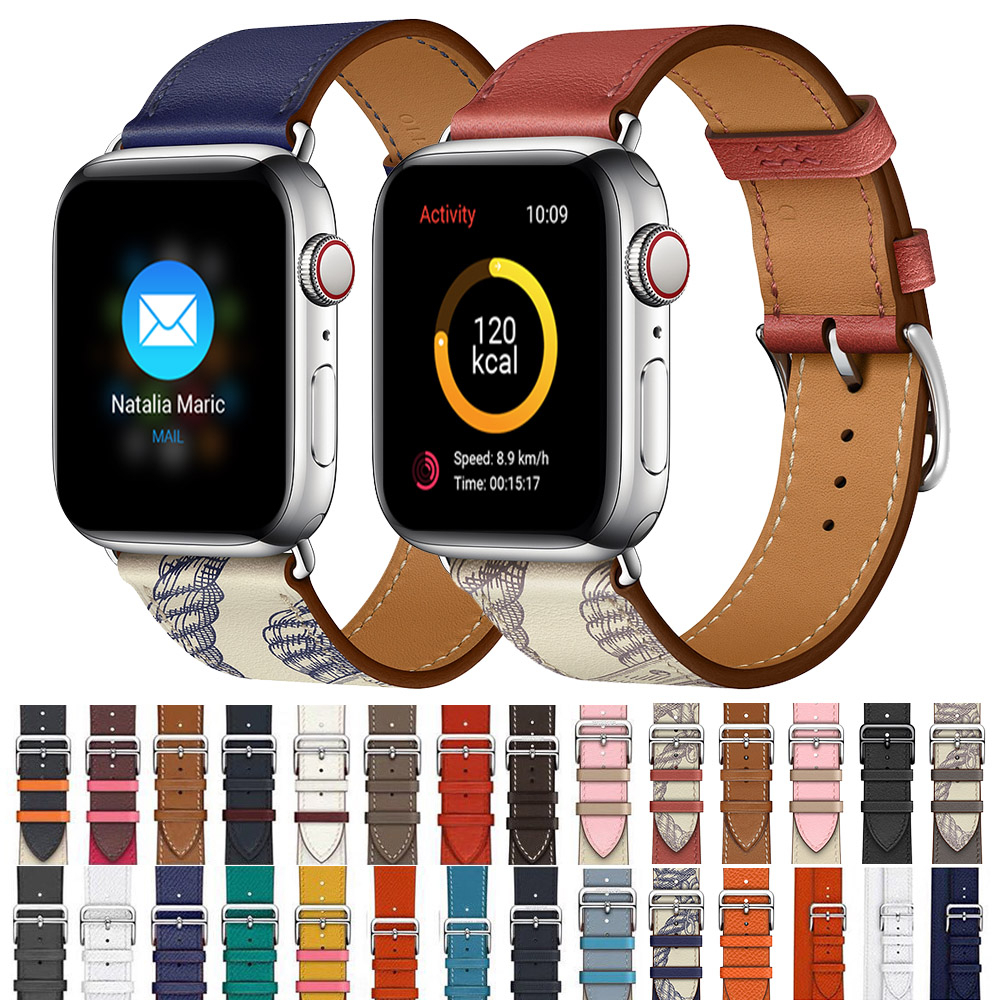 Cow Leather Strap For Apple Watch 5 Band 44mm Iwatch Series 4 3 2 1 Watch Accessories 42mm Loop 38mm Bracelet Replacement 40mm