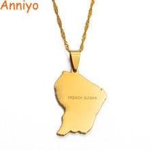 Anniyo francês guiana mapa bandeira colares cor ouro mpas guiane francaise encantos pingente jóias presentes #007421