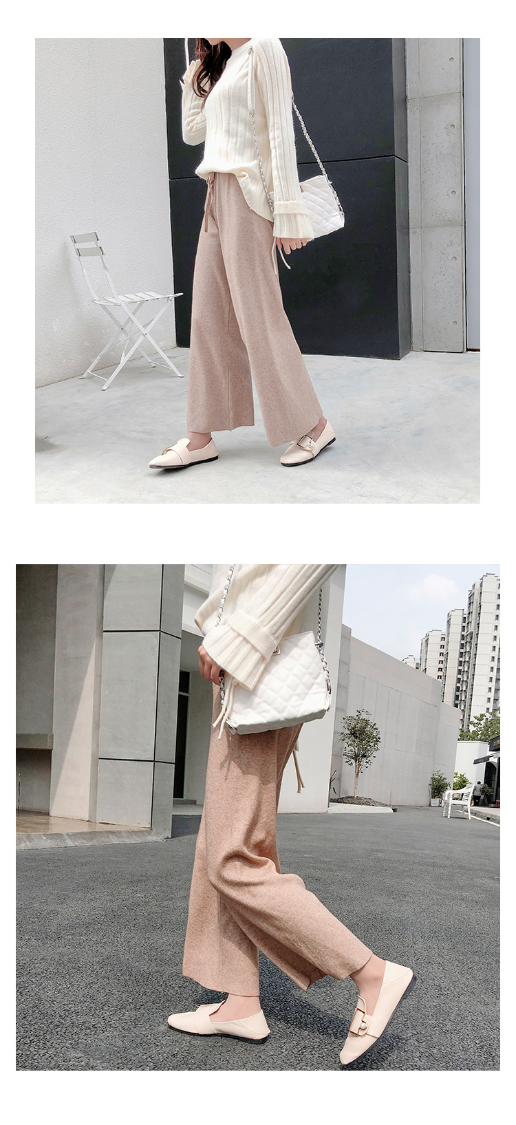 2019 autumn winter new THICK casual straight pants women female drawstring loose knitted wide leg pants casual Trousers 23
