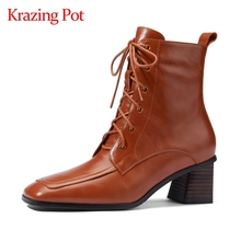 Winter Shoes Ankle-Boots Handmade High-Heel Elegant Genuine-Leather Lady L06 Krazing-Pot