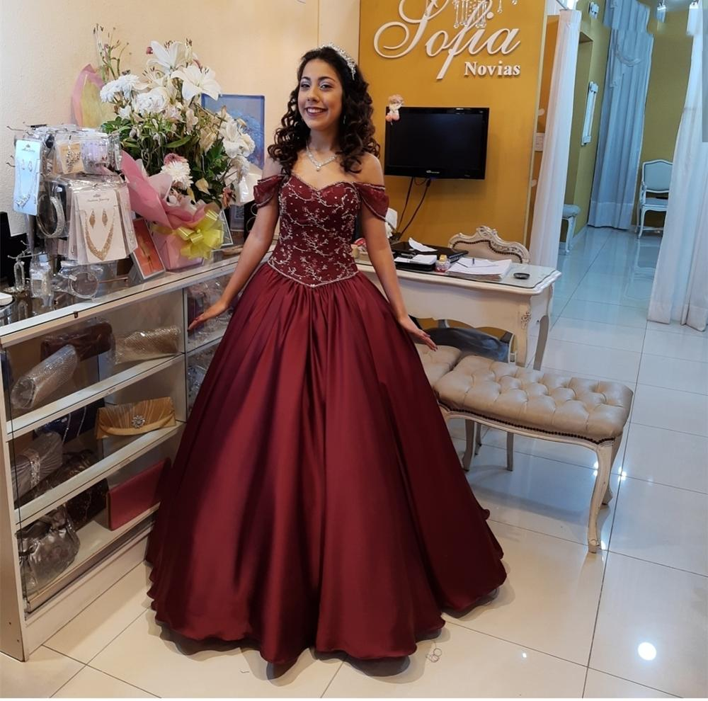 Women Prom Dress Sweetheart Red Wine Prom Dress Ball Gowns Cap Sleeve Custom Elegant Crystal Beading Formal Gowns High Quality