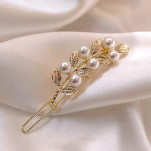 Exquisite Alloy Leaf Pearl Hair Clips Gold Color Hairpins Barrette Hair Accessories for Women Girl Hairgrip Headwear H002 classic solid color leaf hairgrip for women