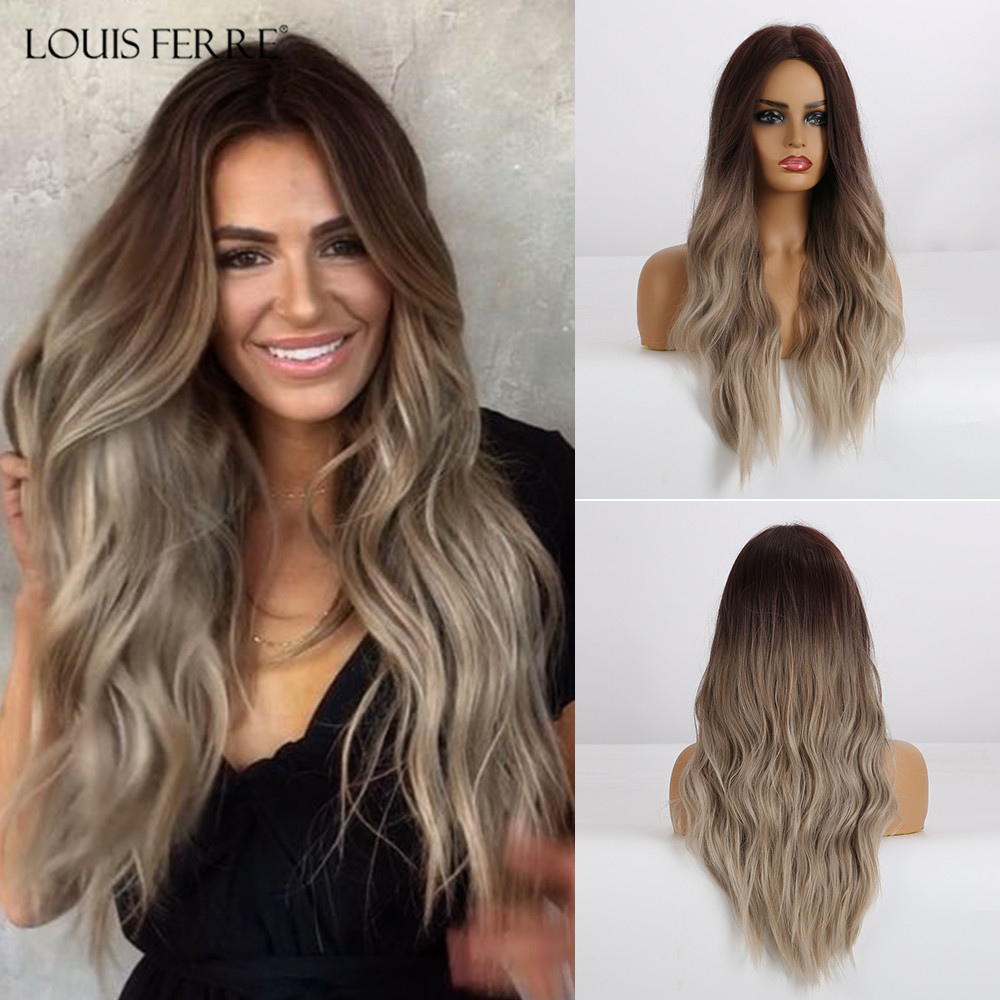LOUIS FERRE Natural Wave Wig Ombre Black Brown Gray Beige Hair Wig Synthetic Long Wig For Women Middle Part Heat Resistant Fiber