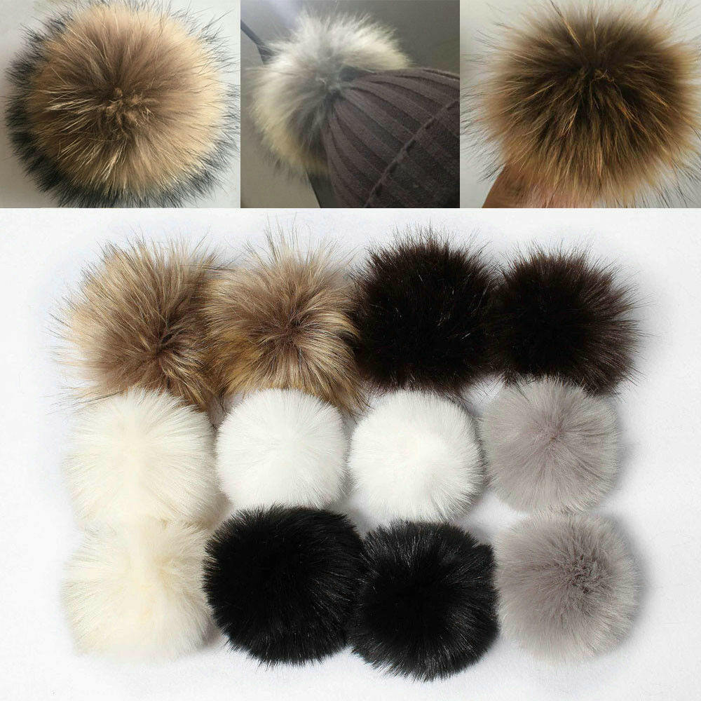 12PCS/pack Fake Faux Rabbit Fox Fur Pom Pom Ball Pom For Keyring Hat Bag Accessories DIY Pendant Craft Supplies